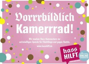 "Facebook-Banner der Kampagne ""#HassHilft"" (c) ZDK Gesellschaft Demokratische Kultur"