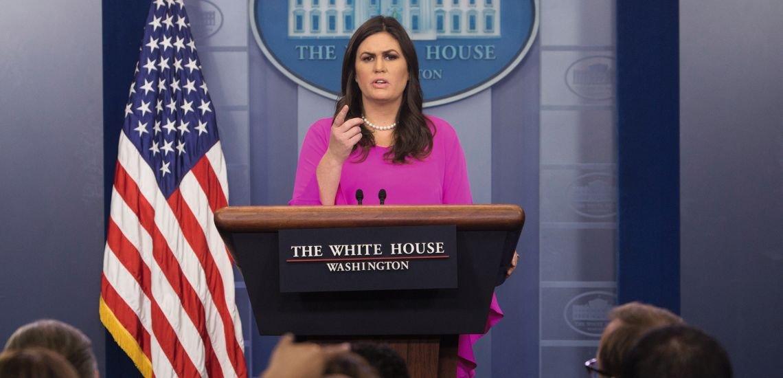 Sarah Huckabee Sanders ist Press Secretary im Weißen Haus. Als Trumps Sprecherin beschränkt sie sich darauf, die Stimme ihres Chefs zu sein. (c) Chris Kleponis/dpa