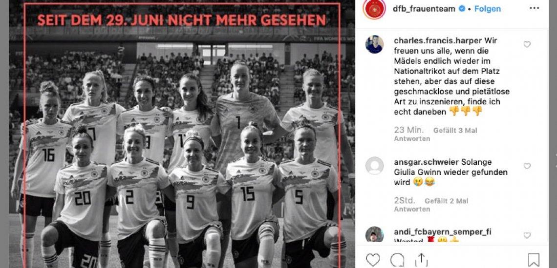 Der DFB provoziert mit einer Kampagne zum Frauenfußball einen Shitstorm. / Vermisstenplakat Instagram: (c) DFB