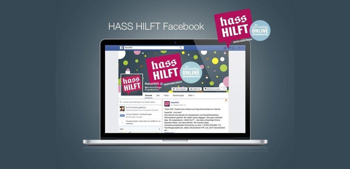#HassHilft macht Hass-Kommentare zur unfreiwilligen Spende für Flüchtlinge und gegen Rechts. (c) ZDK Gesellschaft Demokratische Kultur
