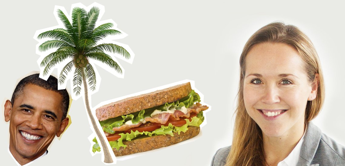 Katharina Jacobs träumt von einem Büro auf Hawaii (c) Mister Spex; Illustration:Julia Nimke