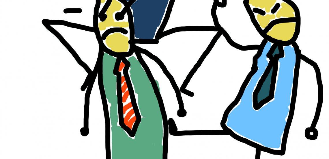 Szenen einer Ehe – die Journalisten-Kommunikatoren-Beziehung ist äußerst komplex. Illustration: Marcel Franke