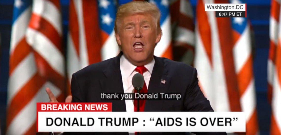 Trump sagt, er habe AIDS besiegt. Das Video ist ein Deepfake. / Screenshot: (c) Youtube