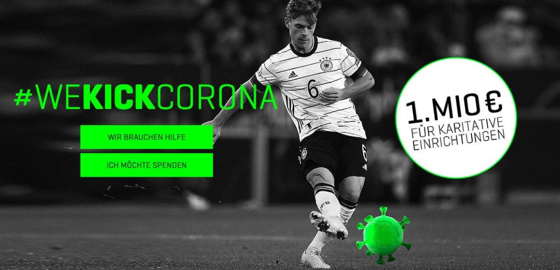 Die Fußballer Goretzka und Kimmich haben eine Initiative gegründet, um gegen die Corona-Pandemie vorzugehen (c) WeKickCorona