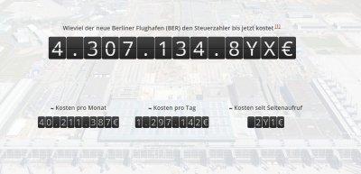 Aktualisierung im Sekundentakt: Die Ausgaben für den Flughafen BER. Screenshot: www.flughafen-berlin-kosten.de