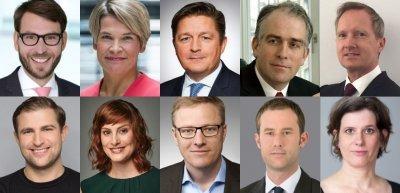 Collage der meistgelesenen Personalien (c) Pfizer/ARD-Hauptstadtstudio/Jens Mueller/Allianz/Deutsche Börse/Volkswagen/Zalando/Oliver Lozano/Christoph Vohler Munich/Günter Wicker/FBB/Julia Nimke