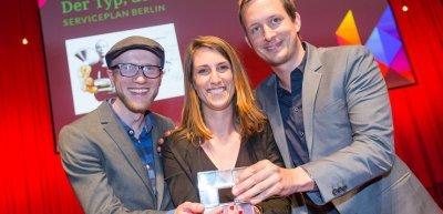 Philipp Süßmann, Valerie Deguine und Philipp Stute (v. l.) von Serviceplan (c) Laurin Schmid