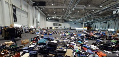 Die Flüchtlingshilfe der Hamburg Messe (c) Hartmut Zielke