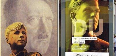 Jung von Matt orientiert sich bei einer Kampagne an einem Nazi-Plakat./ Hochschulkampagne (c) Twitter/@m_e_e_t_a