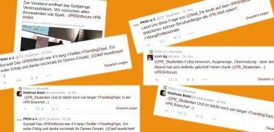 Zum PRSH-Forum wurde fleißig getwittert (c) Screenshots https://twitter.com/PR_Studenten