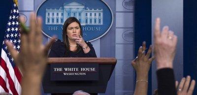 """Sarah Huckabee Sanders war rund zwei Jahre lang Pressesprecherin im Weißen Haus. Im """"Mueller Report"""" sind Lügen von ihr dokumentiert. (c) picture alliance/newscom/Kevin Dietsch"""