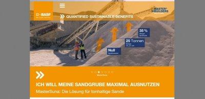 Dass Betonzusätze nachhaltig sein können, zeigt BASF mit einer Microsite auf. (c) Screenshot