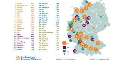 Stiftungsdichte in Großstädten (c) Bundesverband deutscher Stiftungen