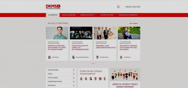 Bild: Das DKMS Media Center bündelt Informationen, Storys und Bildmaterial auf einer Plattform. (c) Screenshot