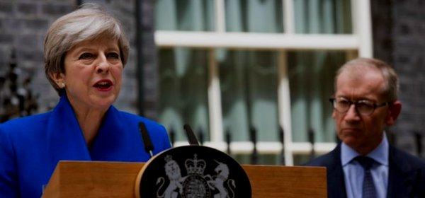 Theresa May bei einer Rede nach der Wahl zum britischen Unterhaus im Juni 2017. (c) GOV.UK / Open Government Licence v3.0