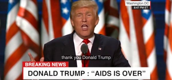 Trump sagt, er habe AIDS besiegt. Das Video ist ein Deepfake. / Screenshot: (c) Youtube