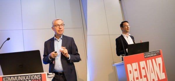 Theo Stepp (l.) und Tobias Jakob (r.) bei ihrem Vortrag auf dem Kommunikationskongress 2017. (c) Kasper Jensen